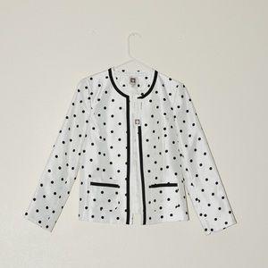 NWT Anne Klein white blazer with black polka dot